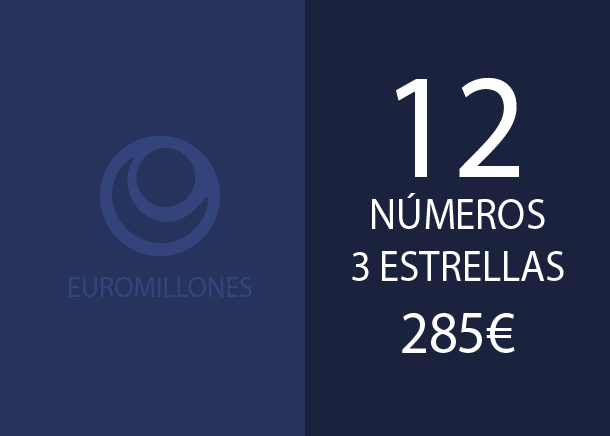 Euromillones - 12 num. 3 stars for 4 y 2 hits - 285,00 Euros