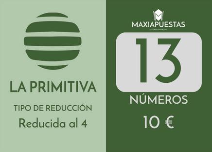 Sistema reducido de la Primitiva. 13 números por 10 apuestas.