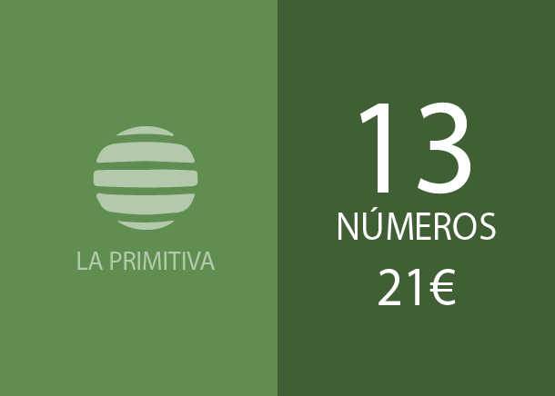 Primitiva - 13 num. for 3 if 3 hits - 21,00 Euros