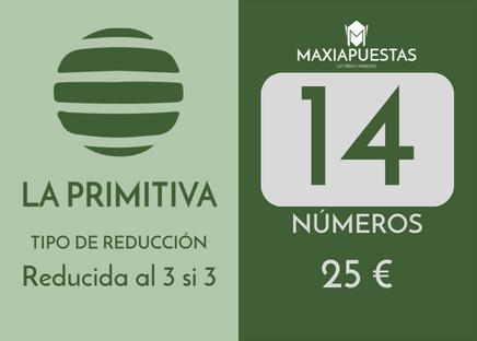 Sistema reducido de la Primitiva. 14 números por 25 apuestas.