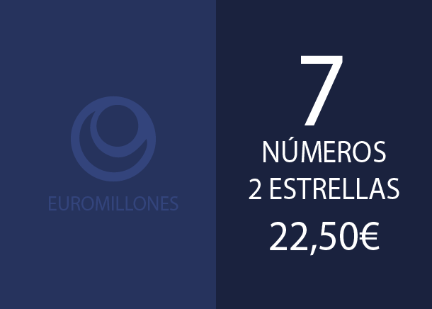 Euromillones - 7 num. 2 stars for 4 if 4 hits - 22,50 Euros
