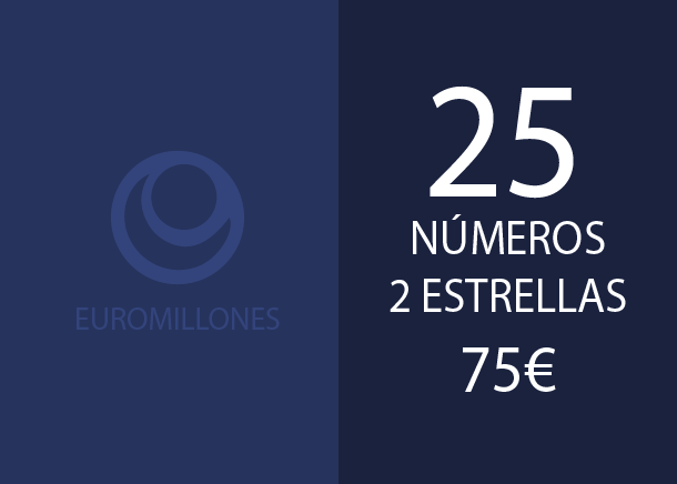 Euromillones - 25 num. 2 stars for 2 if 2 hits - 75,00 Euros