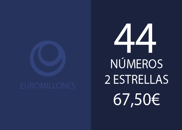 Euromillones - 44 num. 2 stars for 2 hits - 67,50 Euros