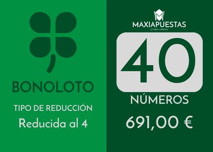 40 Núm. asegurando 4 aciertos por 1382 apuestas