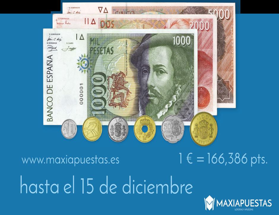 Cambio de pesetas por lotería