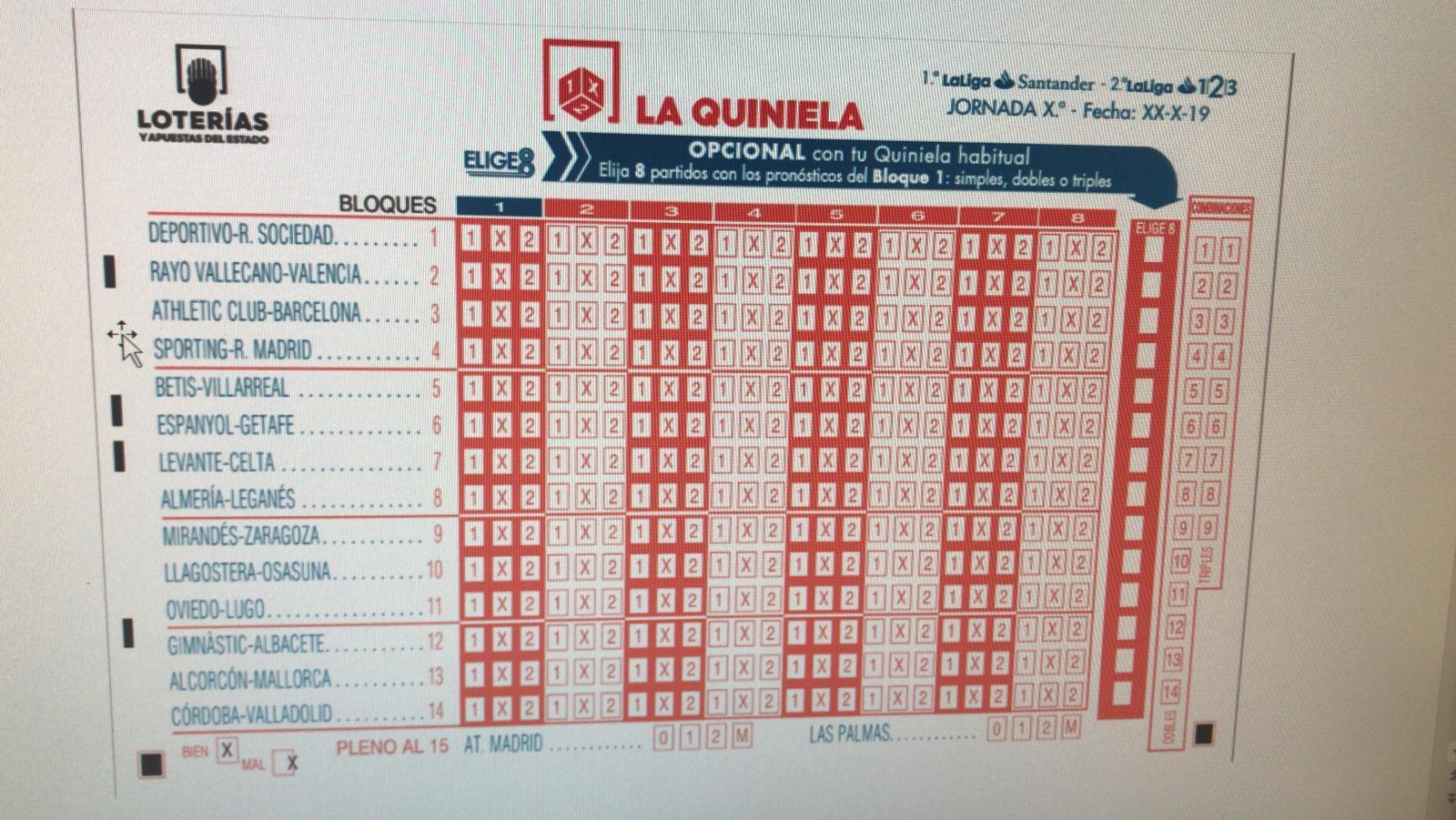 Elige 8 - boleto quiniela