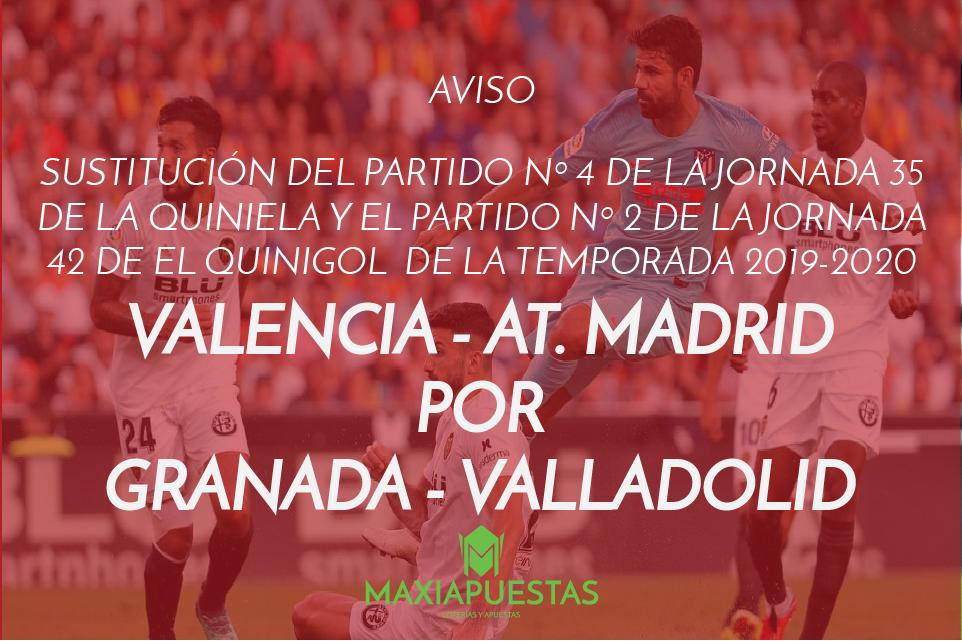 Sustitución Valencia - At. Madrid