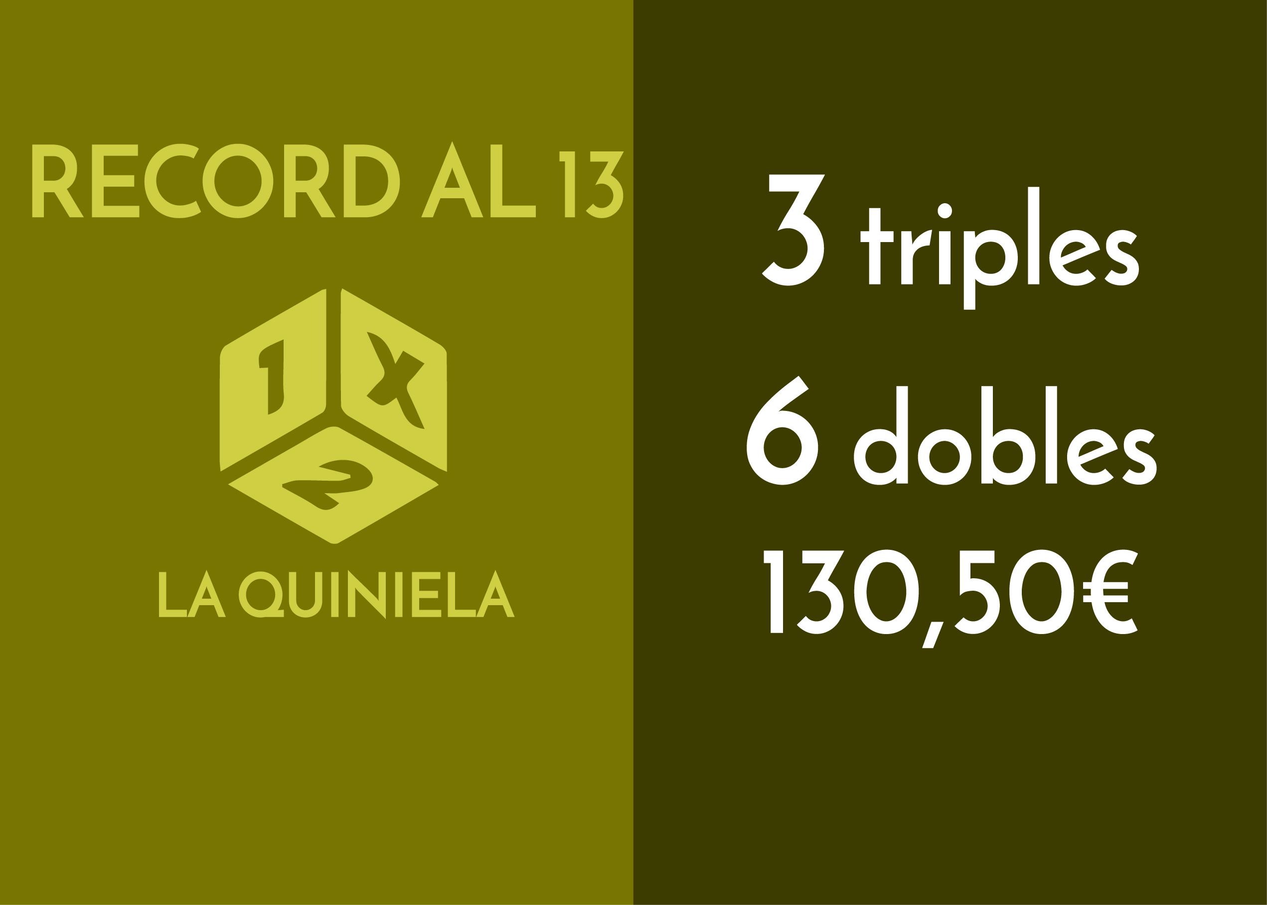 3 triples y 6 dobles al 13 por 174 apuestas