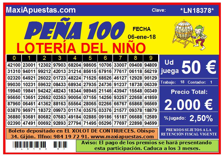 Juega 100 números del Lotería del Niño por solo 50 €.